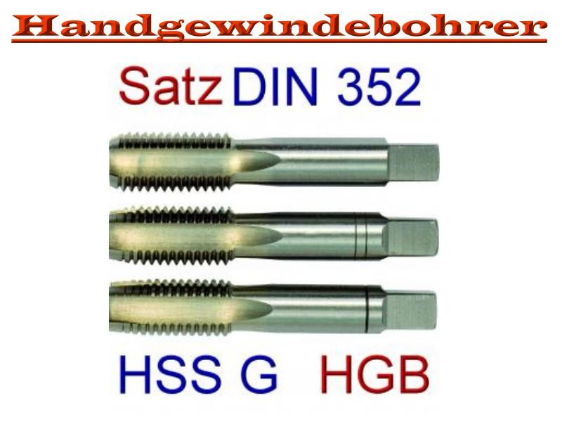 Gewindebohrer teilig links M 8 Handgewindebohrer HSS Satz DIN 352-3