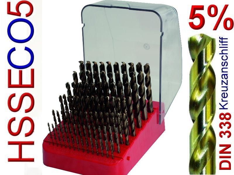 10 Cobalt-Bohrer DIN 338 HSS-CO Spiralbohrer HSSE Metallbohrer 1,5 mm